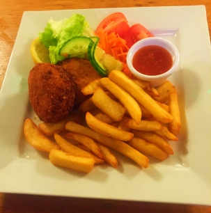 Haddock Fish Cakes. Served with fresh side salad and chunky chips.